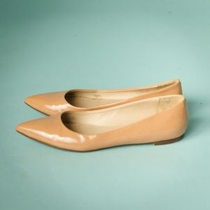 J Crew 8 Nude Viv Patent Leather Pointed Toe Flats